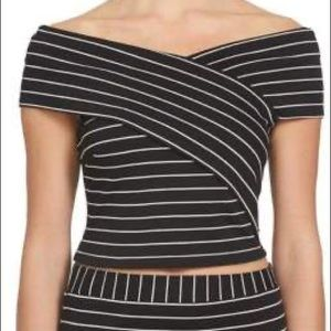 1.STATE Off The Shoulder Wrapped Striped Crop Top